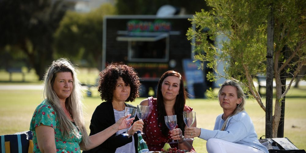 Locals Alli Mathieson, Ann Bunting, Samantha Duhamel and Nikki Prout are not happy with Council's decision to refuse the sale of alcohol at this year's StreEATS Festival.