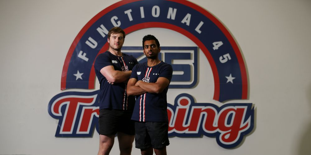 Farran Batchelor (manager F45 Canning Vale) and Ash Menon (trainer). The gym is renowned for getting great results in just 45minutes but there are plenty of sceptics out there who believe it's a 'cult' and not inclusive. Reporter CARMELLE WILKINSON puts F45 (and her fitness) to the test. Pic Andrew Ritchie