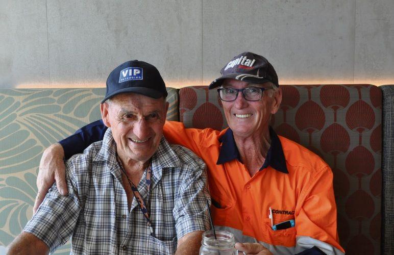 Sam Denic (left) with his saviour Louis Aspinall. Photo: Ben Smith.