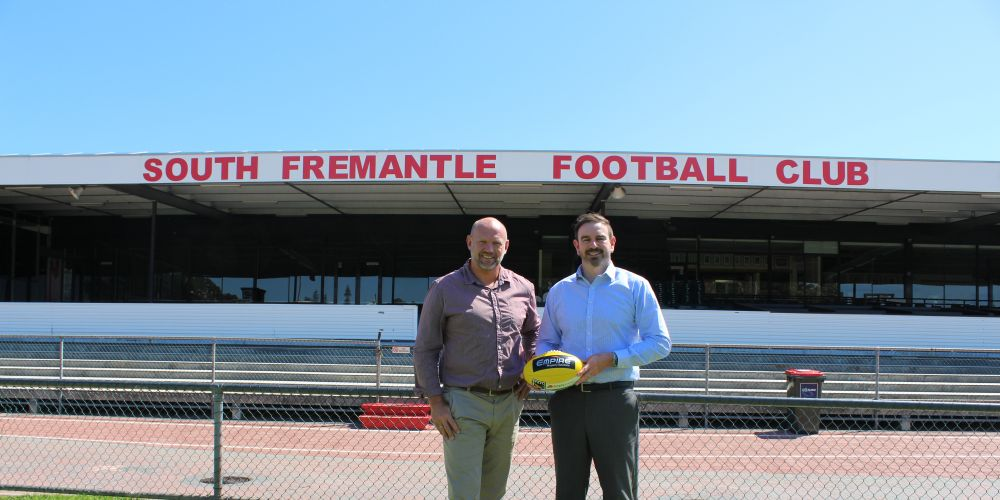 New South Fremantle Football Club general manger of football and community Marty Atkins and chief executive Cameron Britt.