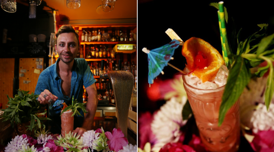 Manager Tiki As FK in Northbridge Björn Karason creating a Jungle Bird cocktail, has won best cocktail bar and cocktail bartender award at the 2019 Hotel Awards. Pictures: Andrew Ritchie.