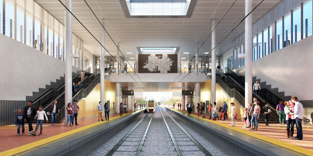 An artist's impression of Eglinton train station.