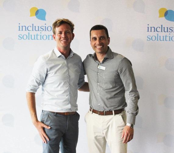 Mandurah Mayor Rhys Williams and Denver D'Cruz of Inclusion Solutions.