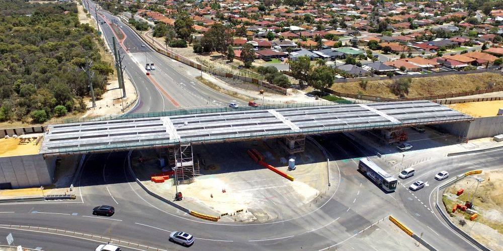 Drone image of intersection and bridge upgrade progress at Wanneroo Road and Joondalup Drive. Picture: David Baylis www.communitynews.com.au d497063