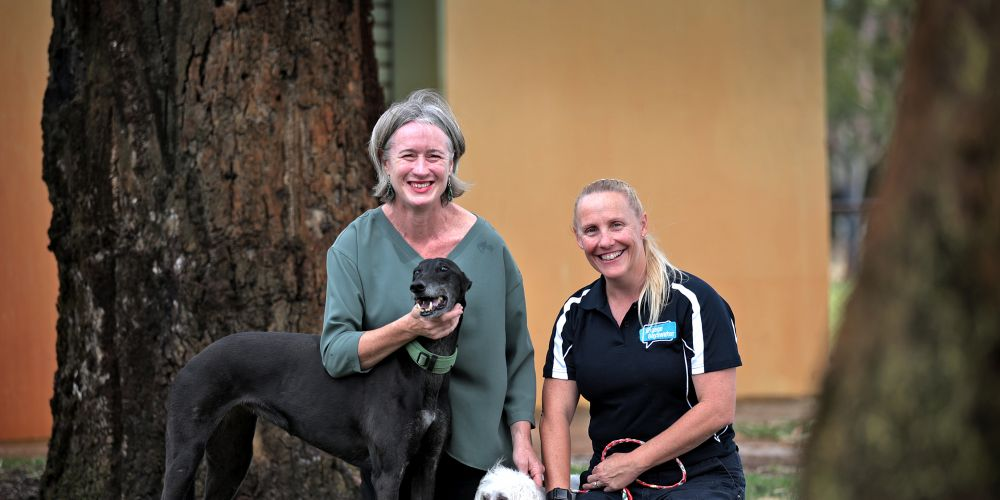 L-R: Cr Giorgia Johnson from the City of Bayswater and Jane Rigney (Senior Ranger, City of Bayswater), seen here at Crimea Park in Morley.  Dogs are WHITE: Casper (15) and BLACK Saffy (7). Picture: David Baylis.   www.communitypix.com.au   d496911