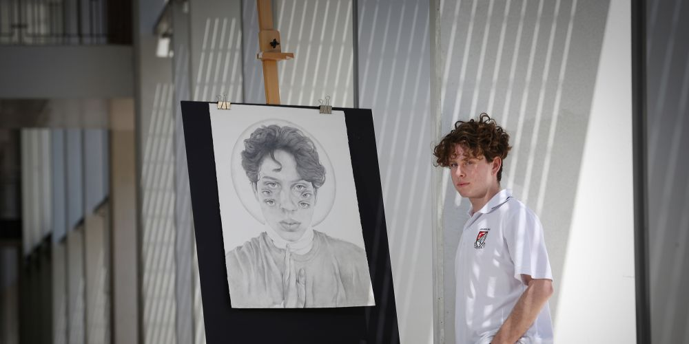 d496902c Applecross Senior High School student Sean Cameron his work Ode to be Open. Picture: Andrew Ritchie.