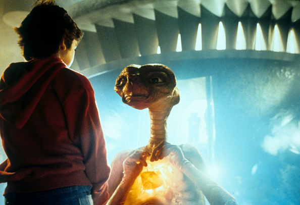 Henry Thomas talking with ET in a scene from the film 'E.T. The Extra-Terrestrial', 1982. Picture: by Universal/Getty Images