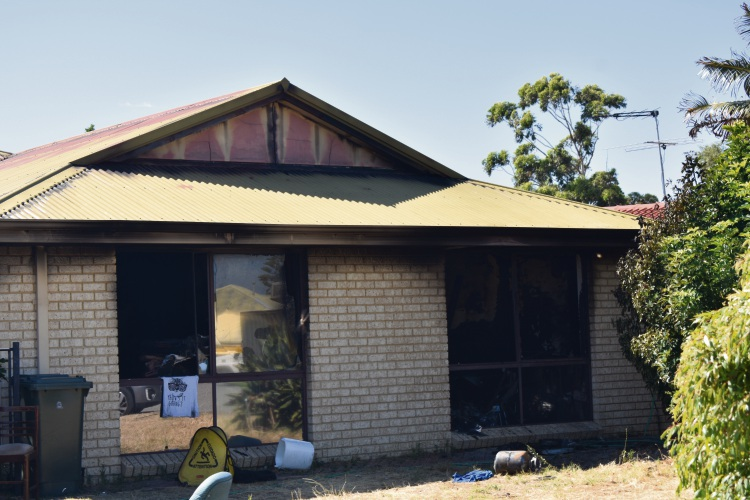 The home - less than 100m away from a primary school - was gutted by the blaze. Picture: Aaron Kirby