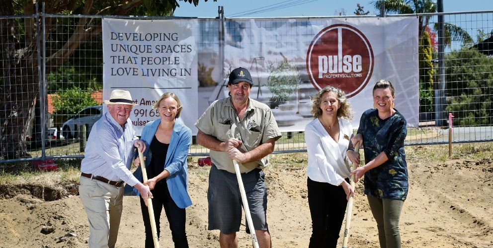 Pulse Property Solutions director Brian Stinson and managing director Amanda Gauci, Greg Reilly, of Tricrest Construction, Joondalup councillor Suzanne Thompson and Studio Halton architect Lisa Halton at the sod turning for Independent Living Warwick. Picture: David Baylis d497016