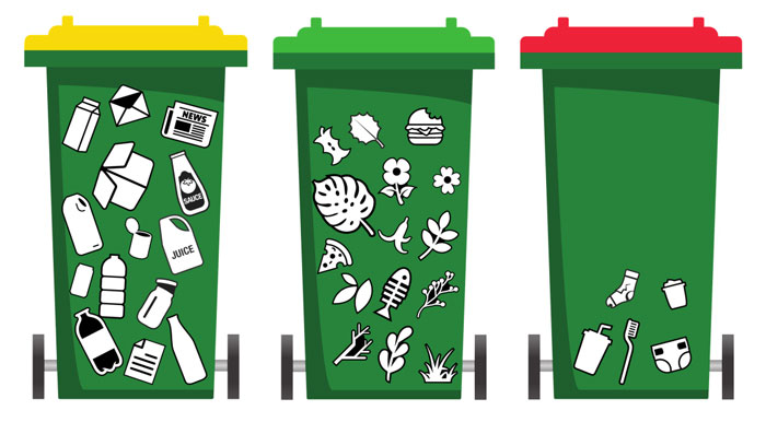The three-bin systemm with a green bin for food and garden organics (FOGO).