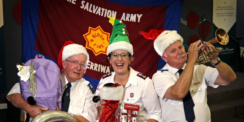 The Salvation Army Merriwa members Graham Cook of Ridgewood, Major Nikki Curtis and Ken Joice of Eglinton. Picture: David Baylis www.communitypix.com.au d497065