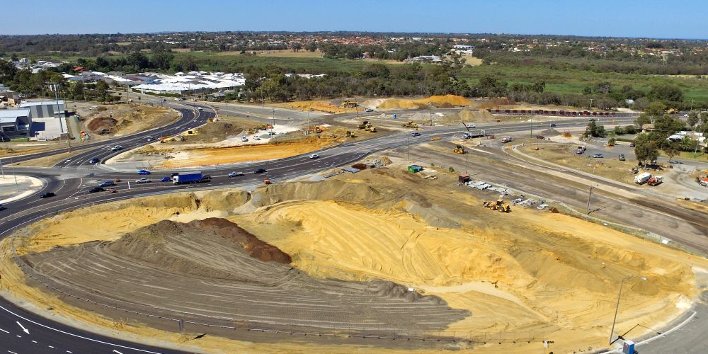 Recent drone image of intersection upgrade progress at Wanneroo Road and Ocean Reef Road. Picture: David Baylis www.communitypix.com.au d497064
