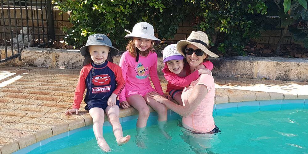 Kylie Beresford with her children Tom, Josie and Emma. Picture supplied