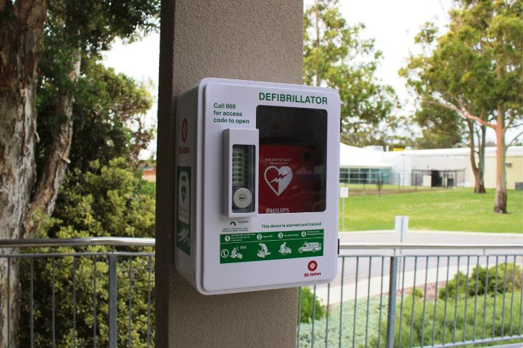 Public defibrillators are accessible anytime to help save people suffering cardiac arrest.