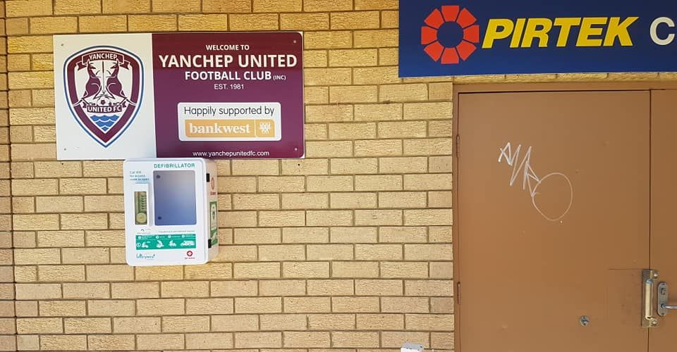 The damaged defibrillator box at St Andrews Park in Yanchep. Pictures: Yanchep United Football Club/Facebook