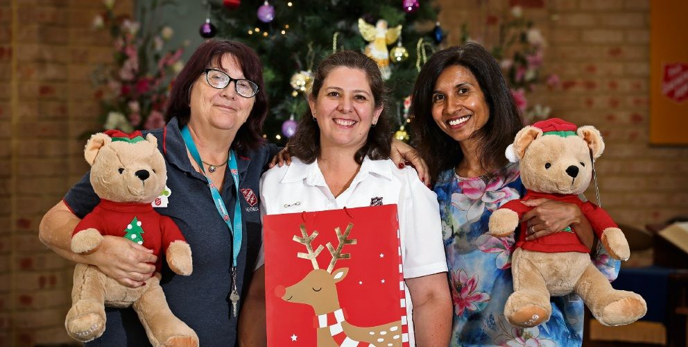 The Salvation Army Heathridge Corps officer Lt Simone Smalley (centre) with volunteers Margaret Fullelove and Karen De Silva are preparing for a busy Christmas appeal. Pictures: David Baylis d496842