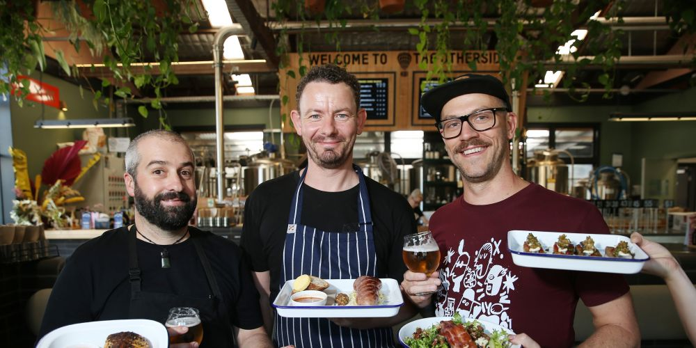 d497274a Freo.Social head chef Garth Cleveland, butcher Marty Morgan and venue manager Matt Marinich with some of the food and paired beers. Picture: Andrew Ritchie
