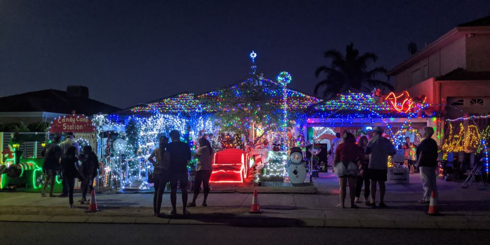 Sharen and Robert Gardner are paying tribute to Santa Ken and raising funds for Melanoma WA with their Christmas lights display. Pictures supplied