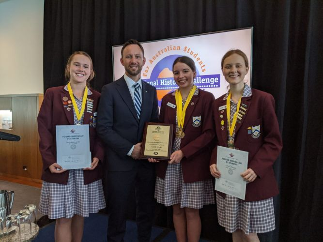 St Mary's Anglican Girls' School students Lucy Lonnqvist, Alice Ward and Olivia Nolan with Stirling MHR Vince Connelly