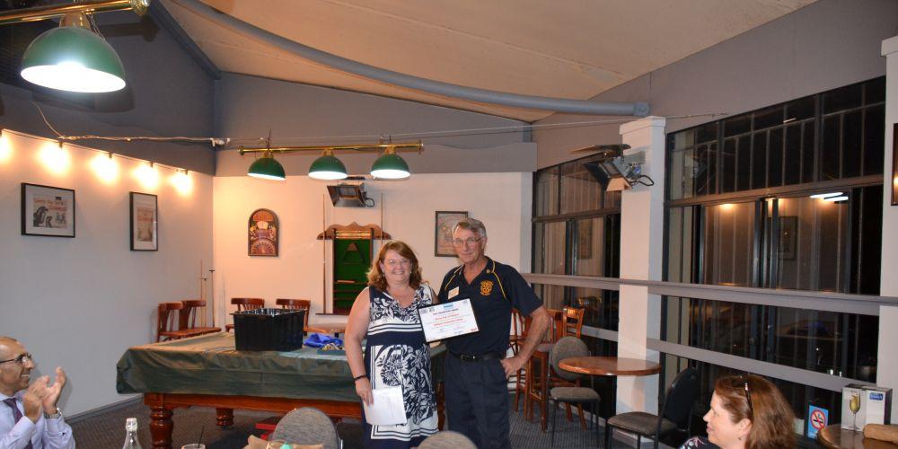 Carol Findlay and Geoffrey Knight (President - Ballajura Malaga Rotary Club)