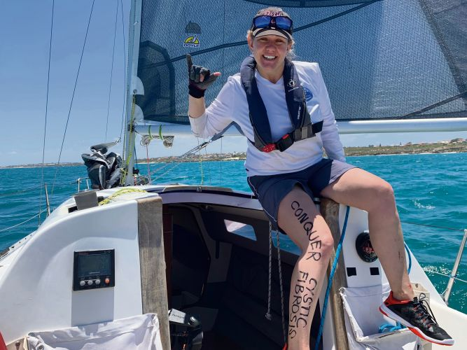 Carmen Irwin (38) will sail the Sydney to Hobart Race while raising awareness and funds for Conquer Cystic Fibrosis.