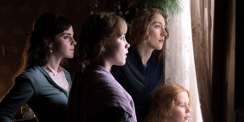 Emma Watson as Meg, Florence Pugh as Amy, Saoirse Ronan as Jo and Eliza Scanlen as Beth in Little Women.