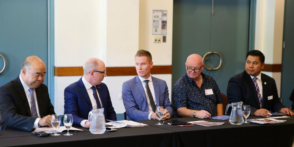 Moore MHR Ian Goodenough, Community Housing, Homelessness and Community Services assistant minister Luke Howarth and Joondalup Mayor Albert Jacob discussing homelessness plans. Picture: City of Joondalup