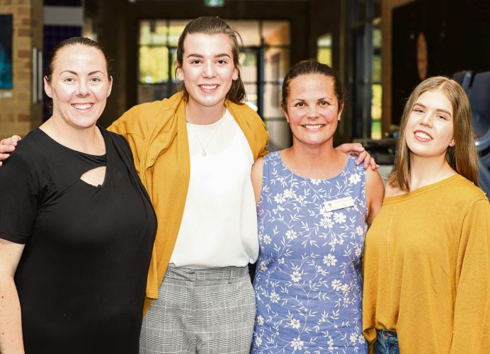 St Stephen's School head of arts Lesley Nation and teacher Sarah Stockton-Rice with St Stephen's School Carramar Year 9 students Eloise Hanna and Montana Madsen at the Op Shop Fashion Show.