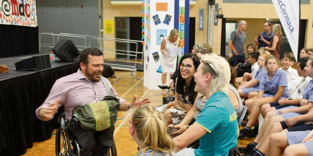 Kurt Fearnley was at Mater Dei College for International Day of People with Disability.