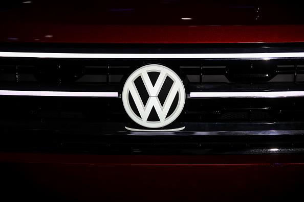The Volkswagen logo is displayed on the Volkswagen Atlas Cross Sport concept SUV. Picture: Drew Angerer/Getty Images
