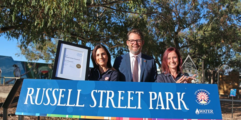 City of Bayswater catchment management officer Rebecca Ferguson, Mayor Dan Bull and environmental sustainability strategy officer Jennie Arts at Russell Street Park in Morley