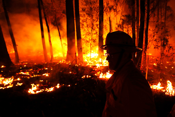 Fires across East Gippsland have killed two people and destroyed more than 100 properties. Picture: Darrian Traynor/Getty Images