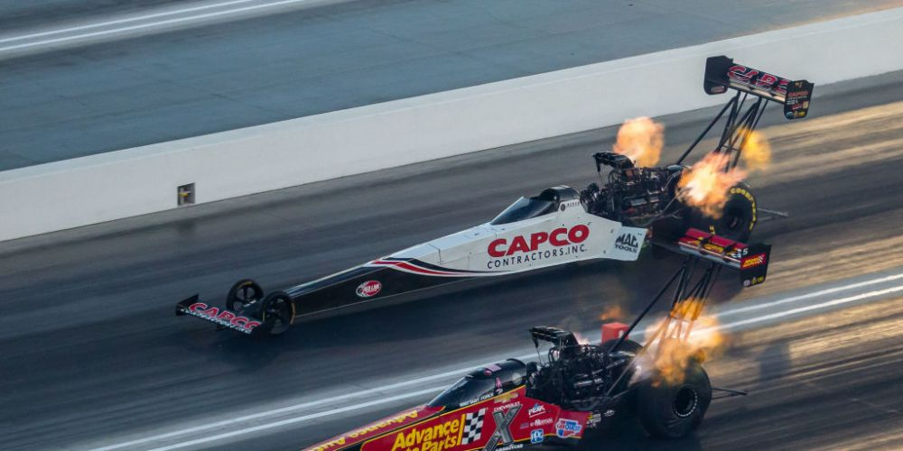 Top Fuel Dragsters in full flight. Photo: Getty