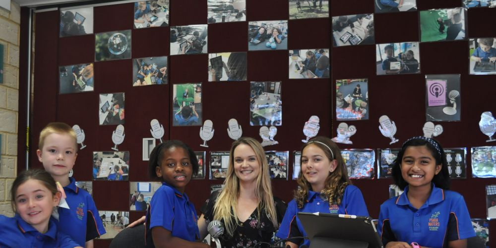 (L-R) Piara Voices podcast team Delilah Rodriguez, Hamish Watson, Samantha Mazorodze, Evie Stanley, Mehela Ram with deputy principal Sian Bakewell.
