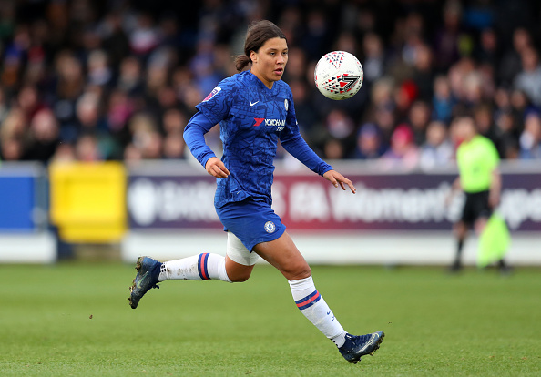 Sam Kerr of Chelsea during the Barclays FA Women's Super League match between Chelsea and Reading. Picture: Catherine Ivill/Getty Images