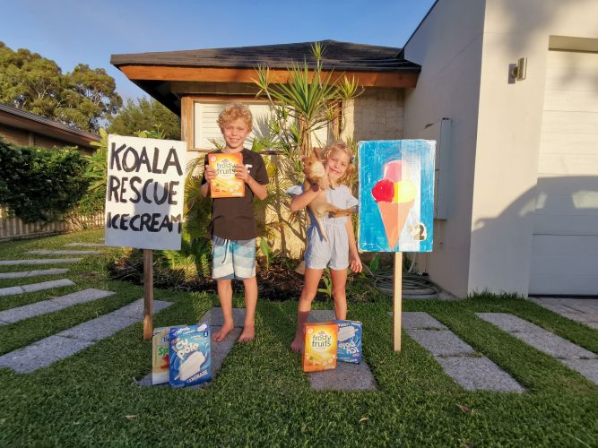 Bailey (9) and Matilda (6) are running an ice cream stall to raise money for koalas affected by the Australian bushfires