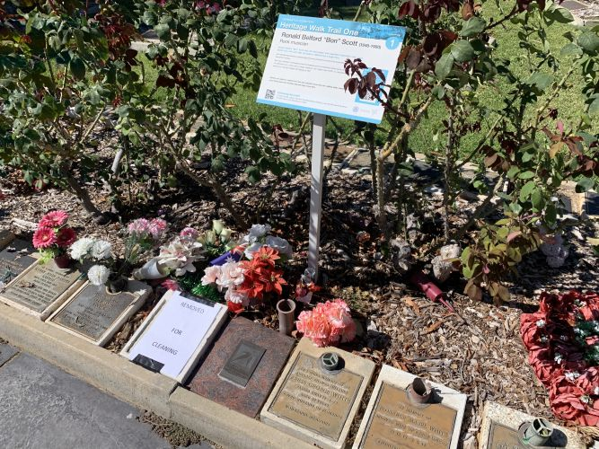 Bon Scott's plaque at Fremantle Cemetery has been sent away to be cleaned.