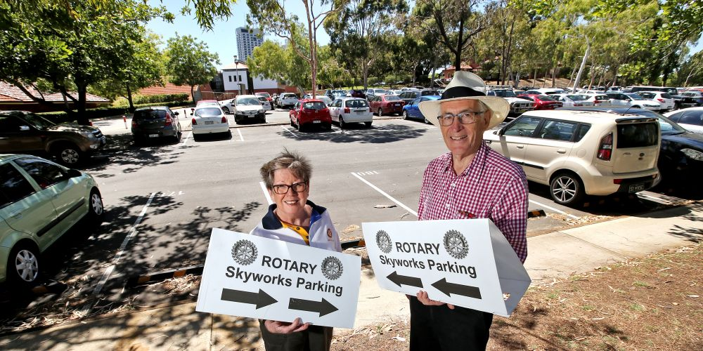 L-R: Christine Stewart of Kensington (Past President and Member of the Rotary Club of Matilda Bay) and Chris Oakeley of Nedlands (Treasurer, Rotary Club of Matilda Bay. Picture: David Baylis.