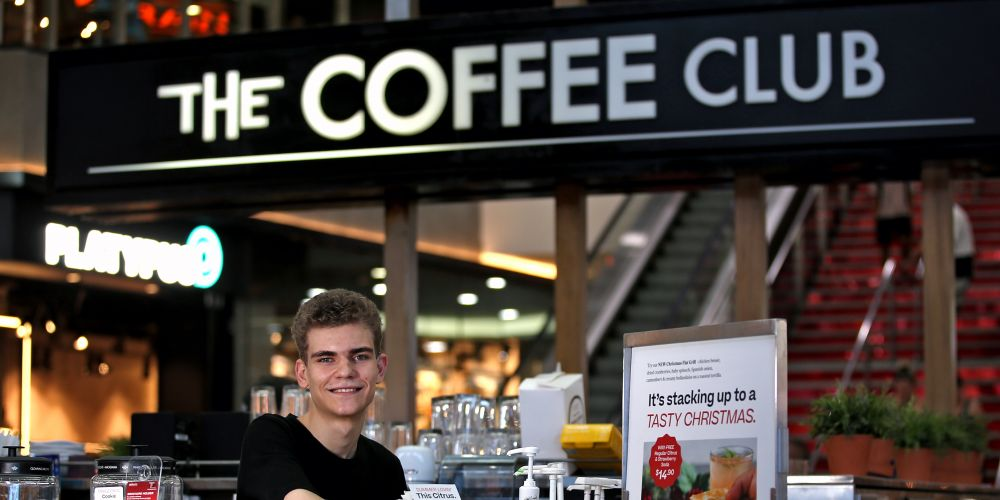 Michael McCarthy (19) of Southern River.  APM helps people with a disability get employment and they found Michael a job in his chosen field of hospitality at the Coffee Club Carousel in Cannington.