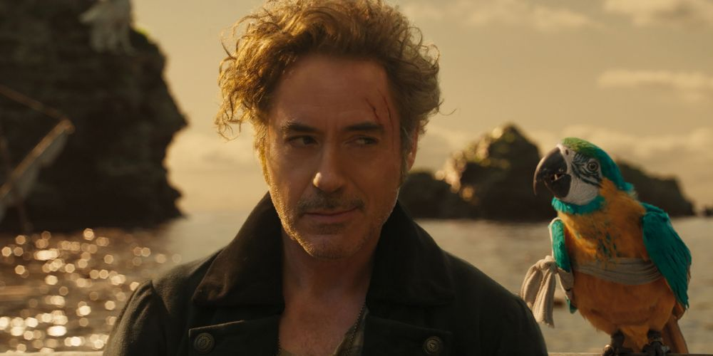 Robert Downey Jr as Dr John Dolittle and Emma Thompson voices Polynesia the parrot.