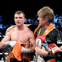 Jeff Horn with trainer Glenn Rushton. Photo: Getty