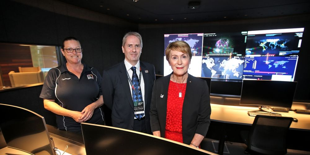 ECU cyber security student Donna Wilson-Adams, Associate Professor Paul Haskell-Dowland and Chancellor Kerry Sanderson in the new security operations centre. Pictures: David Baylis www.communitypix.com.au d497794