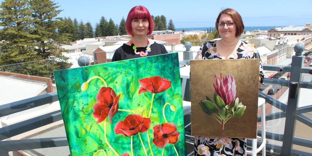 Canning Vale artist Michelle Gilks and Karrinyup artist Bec Bartell.