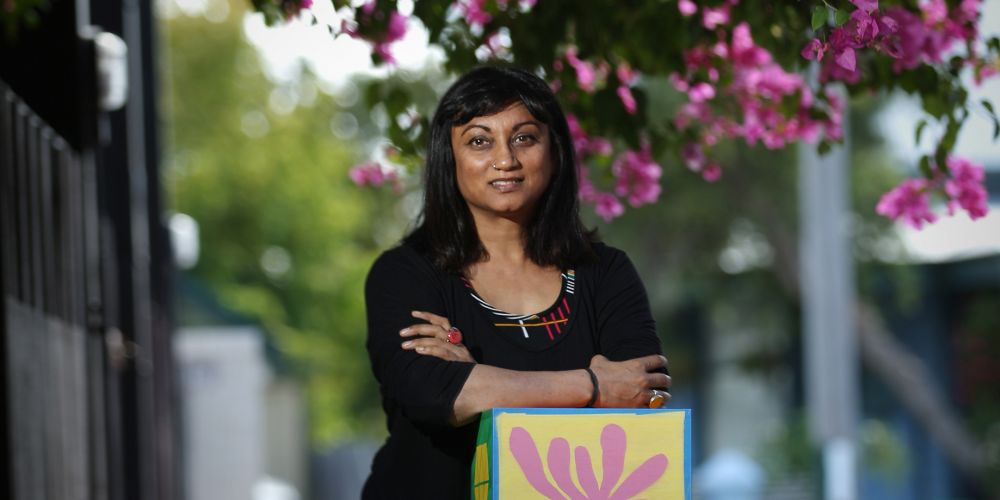 d497804a South Fremantle artist Maxxi Minaxi May with her sculpture. Picture: Andrew Ritchie