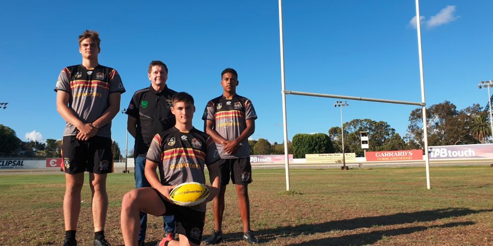 NRL WA general manager John Sackson with West Coast Pirates players Ben Schipway-Carr (left), Jarred Therkelsen (front) and Jaeree Reuben (right). Photo: Ben Smith.