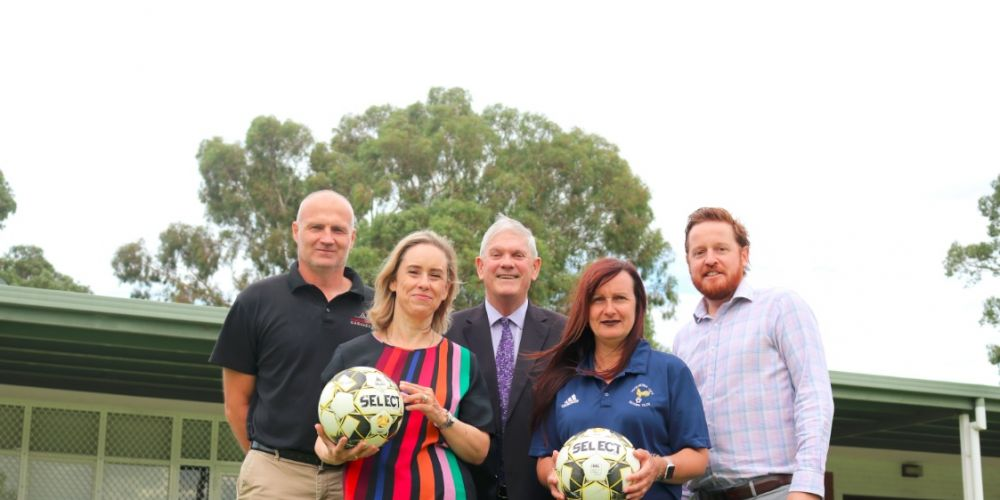 (L-R): Cockburn City Soccer Club member Jason Petkovic, Fremantle MLA Simone McGurk, Cockburn Mayor Logan Howlett, Cockburn City Soccer Club President Heidi Lazzaro and City of Cockburn Recreation & Community Safety Manager Travis Moore at Beale Park, Spearwood.