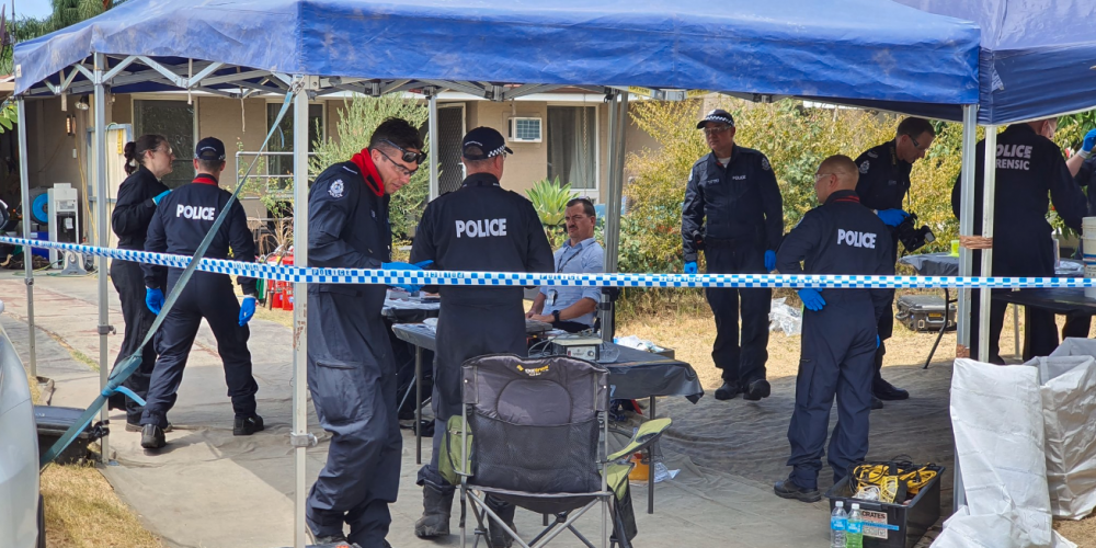 Police are on the scene today after a raid on a Perth meth lab. Picture: David Baylis