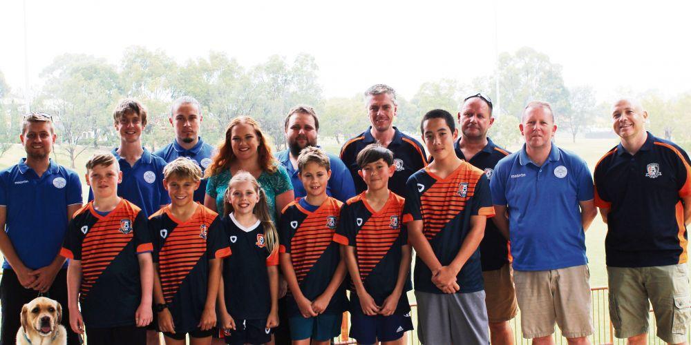Kingsley MLA Jessica Stojkovski with members of the Kingsley Westside and Woodvale football clubs.