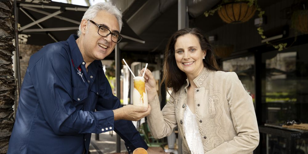Bert Giancristofaro  (Jus Burgers) and Mayor Penny Taylor. Picture: Andrew Ritchie.