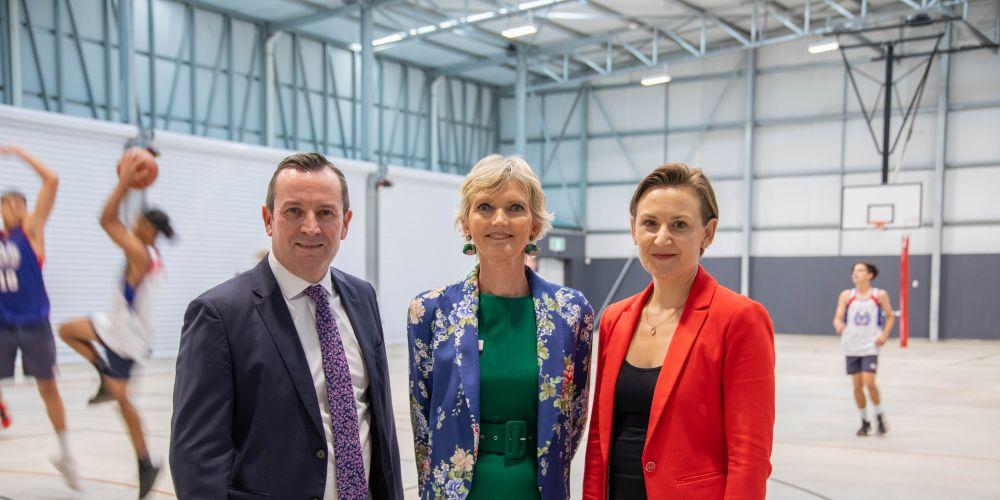 Premier Mark McGowan, Morley SHS principal Sue Gilchrist and Morley MLA Amber-Jade Sanderson.